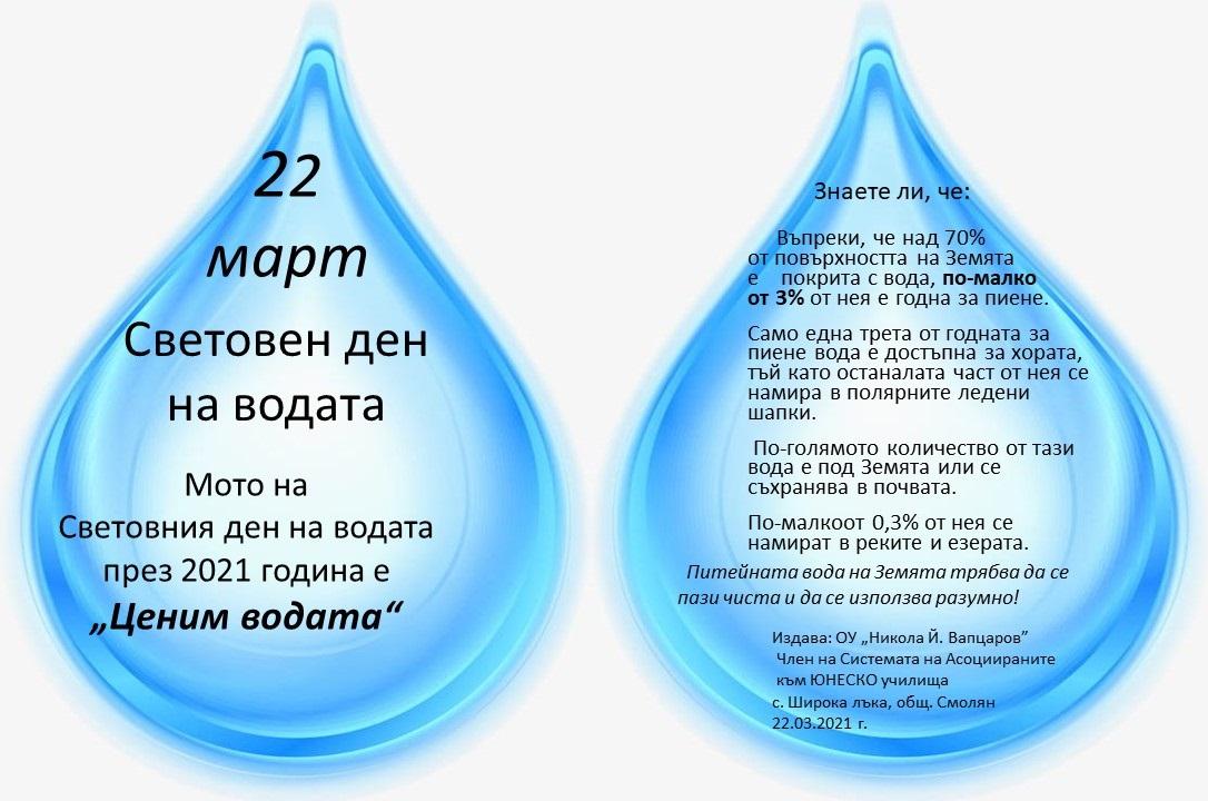 Световен ден на водата - 22.03.2021